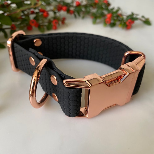 Hunter & co. Geometric Honeycomb Rose Gold Biothane Waterproof Dog Collar