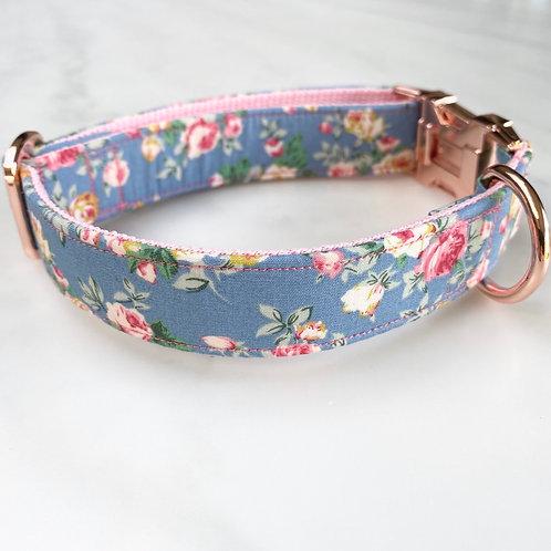 Hunter & co. Blue Floral Rose Gold Dog Collar