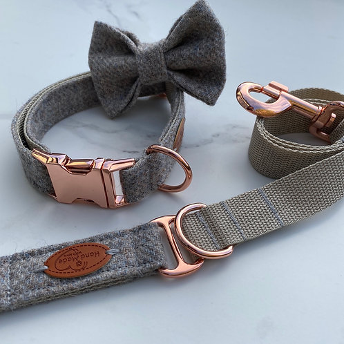 Light Grey Tweed Dog Collar, Bow & Lead with Rose Gold Hardware