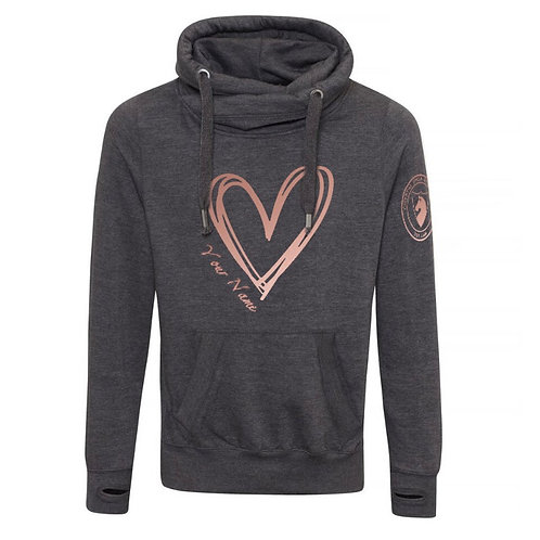CSB Charcoal Cross Neck Personalised Heart Hoodie with Rose Gold Print