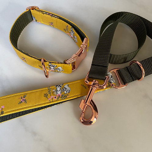 Hunter & co. Floral Ochre Squirrel Racoon Rose Gold Dog Collar