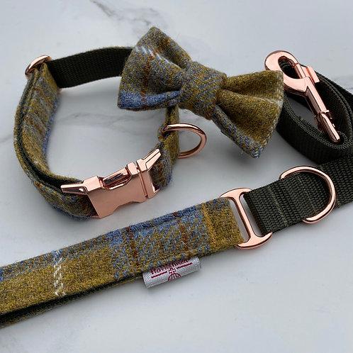 Harris Tweed Mustard Blue Dog Collar Bow& Lead Set Rose Gold Buckles