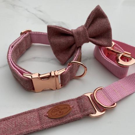 dog collar pink tweed
