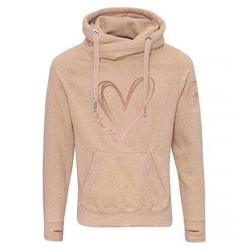 CSB Nude Cross Neck Personalised Heart Hoodie with Rose Gold Print