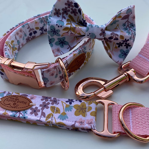 Mauve Mustard Yellow Floral Dog Collar Rose Gold Metal Buckles