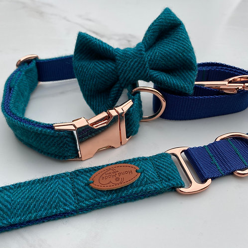 SOLD OUT Aqua Marine Blue Herringbone Tweed Dog Collar, Bow & Lead Set