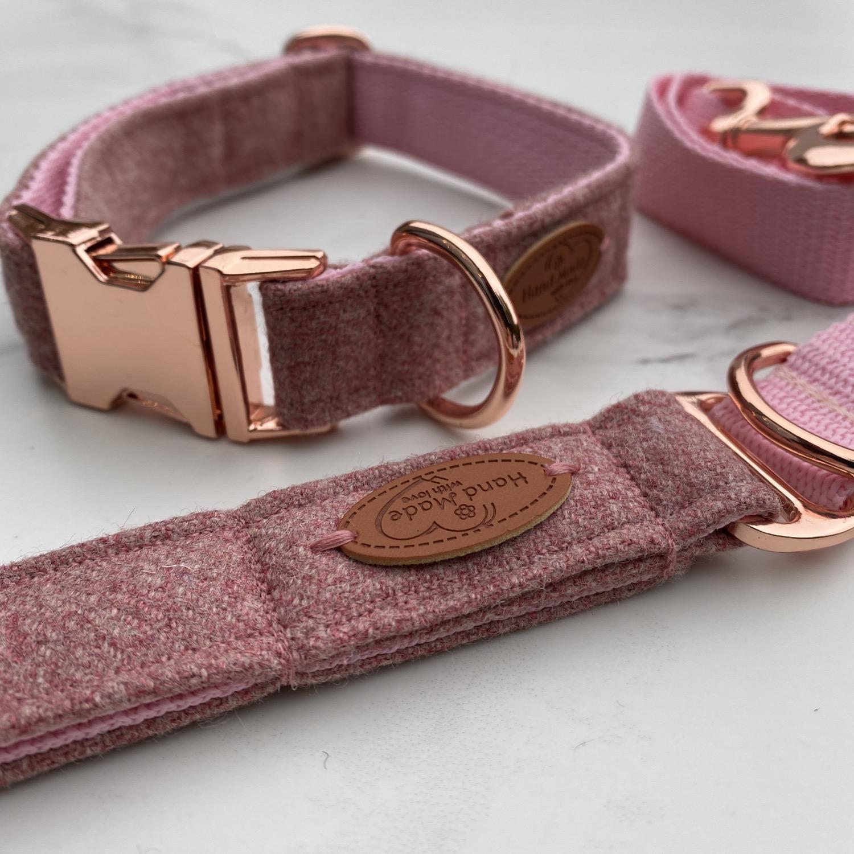 pink tweed dog collar