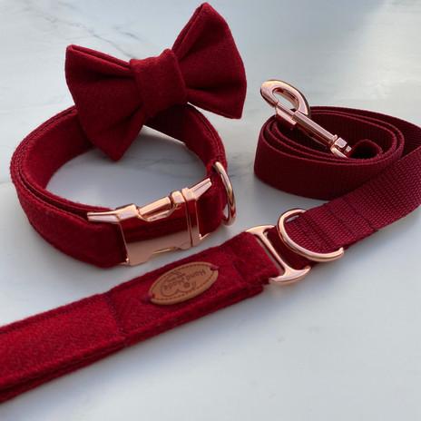 red tweed dog collar
