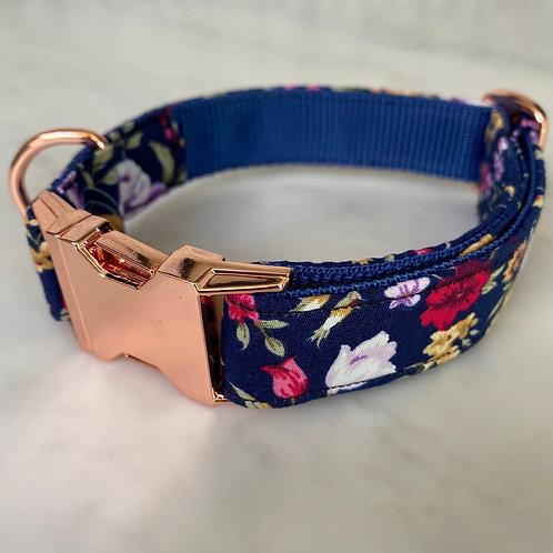 Hunter & co. Navy Blue Floral Rose Gold Dog Collar