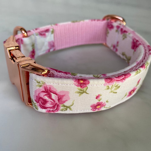 Hunter & co. White Pink Ditsy Floral Rose Gold Dog Collar Collar