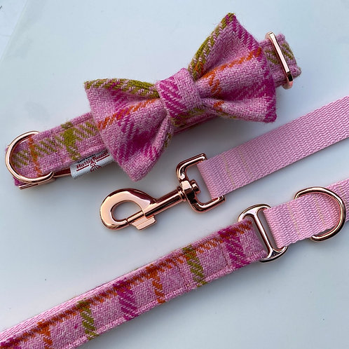 Harris Tweed Pink Khaki Orange Dog Collar Bow & Lead