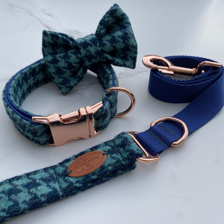 Turquoise Houndstooth tweed dog collar,
