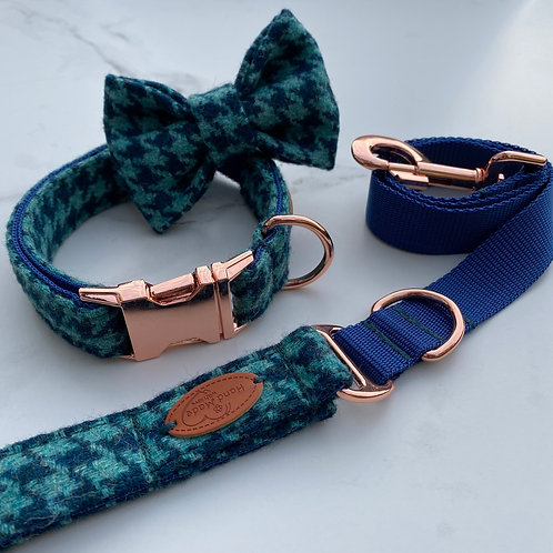 Turquoise Houndstooth Tweed Dog Collar, Bow & Lead Set