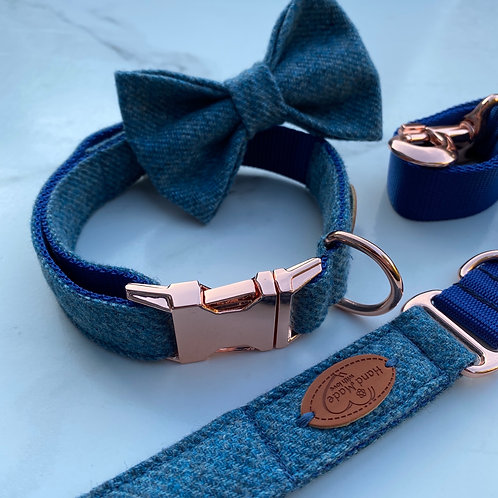 Soft Heathery Blue Tweed Dog Collar, Bow & Lead with Rose Gold Hardware
