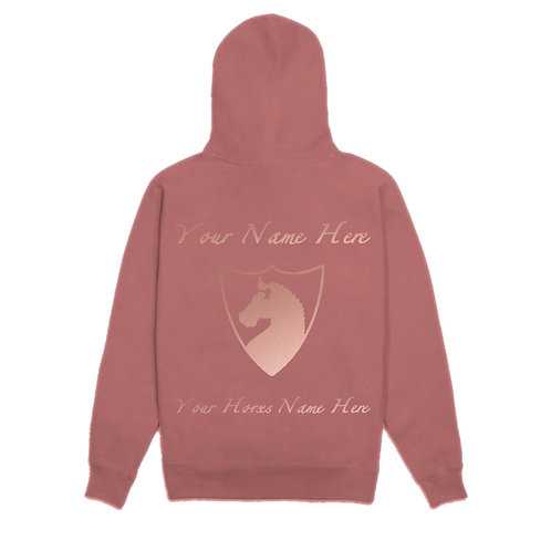 CSB Dusty Pink Personalised Hoodie with Rose Gold Print
