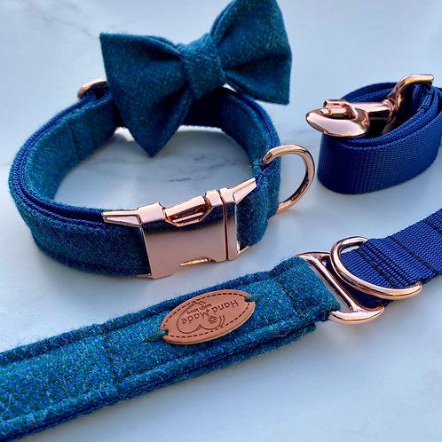 Aqua Marine Blue Herringbone Tweed Dog Collar, Bow & Lead Set