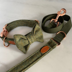 tweed dog collar and lead with bow