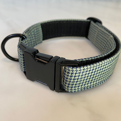 Hunter & co Dogtooth Navy & Matte Black Dog Collar