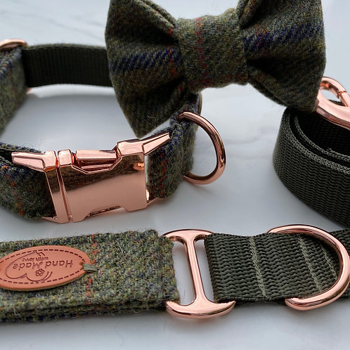 Barbour Green Tweed Dog Collar, Bow & Lead Set