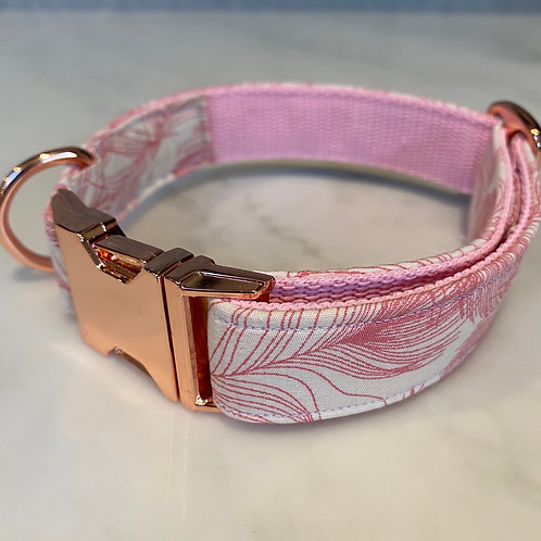 Hunter & co. Feather Ivory & Pink Rose Gold Dog Collar