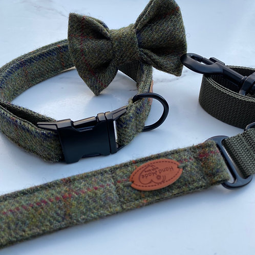 Barbour Green Tweed Dog Collar, Bow & Lead Set Matte Black Buckles