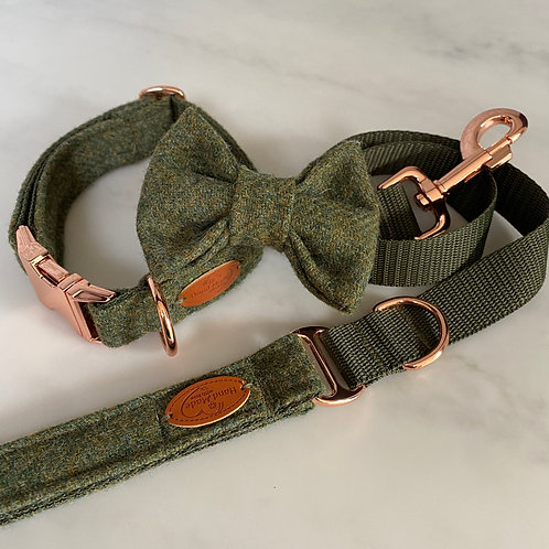 Abraham Moon Green Tweed Dog Collar with Rose Gold Buckles Bow and Lead Set