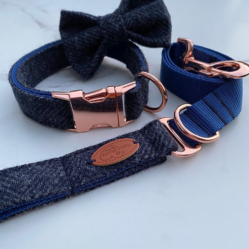 Navy Blue Tweed Dog Collar, Bow & Lead with Rose Gold Hardware
