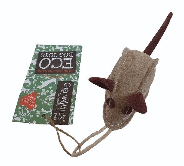 A light brown suede mouse toy.