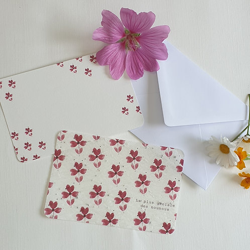 Carte à planter pink flowers.