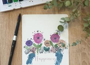 Vidéo pour réaliser des fleurs à l'encre noire et aquarelle.