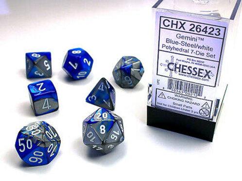 Chessex Polyhedral Set Gemini Blue-Steel/White 26423