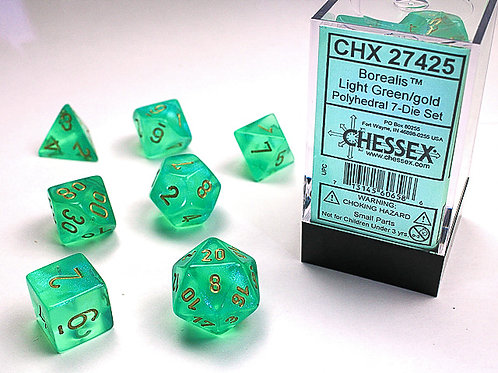 Chessex Polyhedral Set Borealis Light Green/Gold 27425
