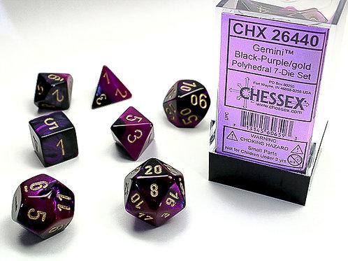 Chessex Polyhedral Set Gemini Black-Purple/Gold 26440