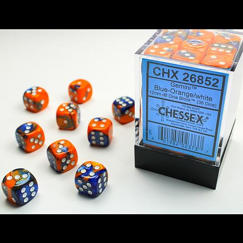 Chessex 36D6 Set Gemini Blue-Orange/White 26852