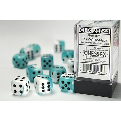 Chessex 12D6 Set Gemini Teal-White/Black 26644
