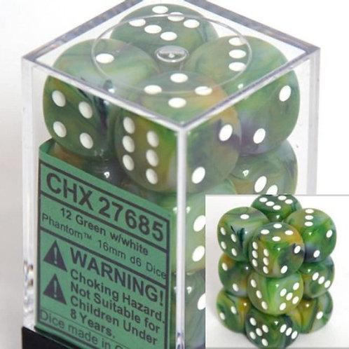 Chessex 12D6 Set Phantom Green/White 27685