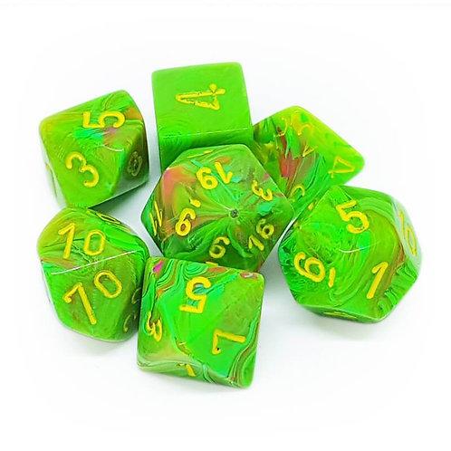 Chessex Polyhedral Set Vortex Slime/Yellow 27515
