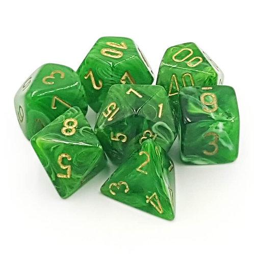 Chessex Polyhedral Set Vortex Green/Gold 27435