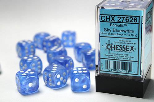 Chessex 12D6 Set Borealis Sky Blu/White 27626