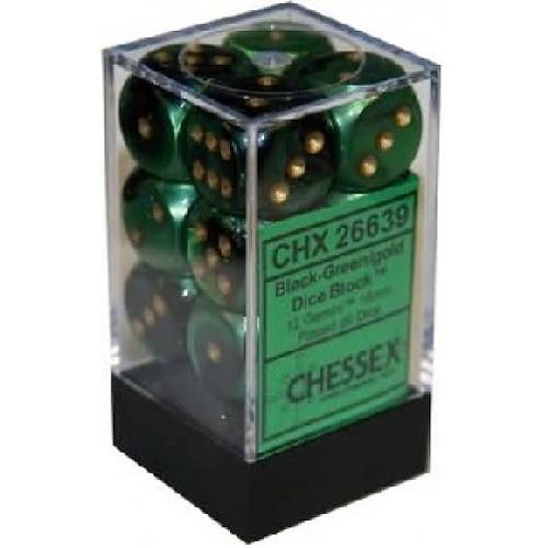 Chessex 12D6 Set Gemini Black-Green/Gold 26639