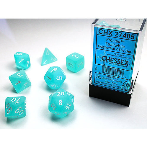 Chessex Polyhedral Set Frosted Teal/White 27405
