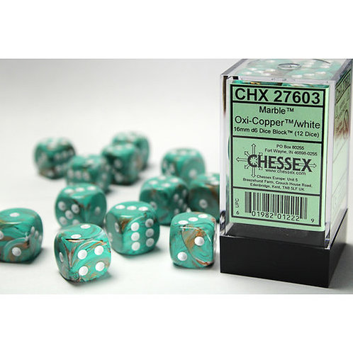 Chessex 12D6 Set Marble Oxi-Copper/White 27603