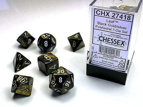 Chessex Polyhedral Set Leaf Black-Gold/Silver