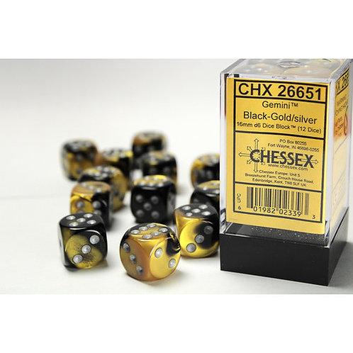 Chessex 12D6 Set Gemini Black-Gold/Silver 26651