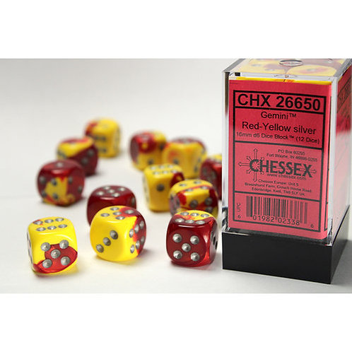 Chessex 12D6 Set Gemini Red-Yellow/Silver 26650