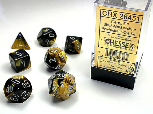 Chessex Polyhedral Set Gemini Black-Gold/Silver 26451