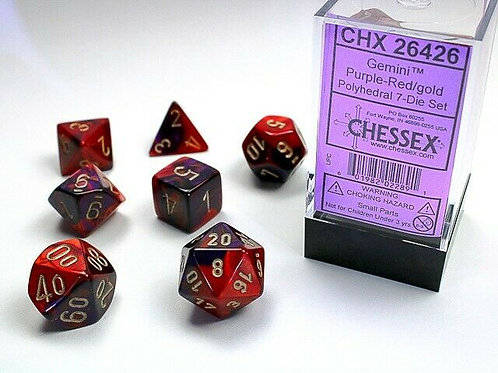 Chessex Polyhedral Set Gemini Purple-Red/Gold 26426