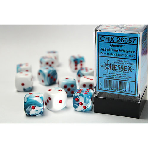 Chessex 12D6 Set Gemini Astral Blue-White/Red