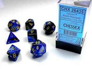 Chessex Polyhedral Set Gemini Black-Blue/Gold 26435
