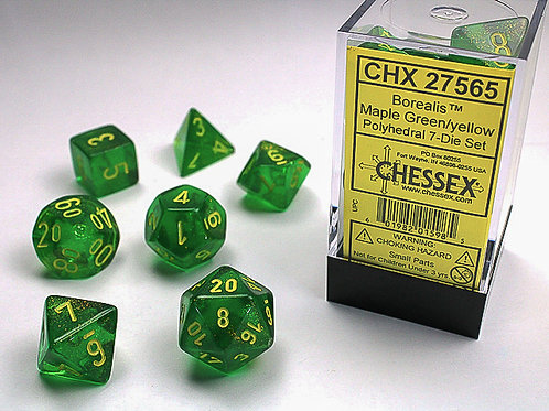 Chessex Polyhedral Set Borealis Maple Green/Yellow 27565